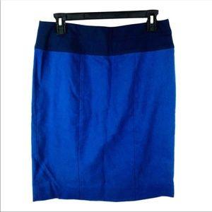 CAbi 934 blue pencil skirt contrast waist 8 NWT